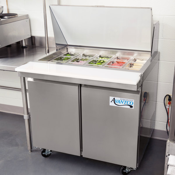 "Avantco SS-PT-36M-HC 36"" 2 Door Mega Top Stainless Steel Refrigerated Sandwich Prep Table Main Image 6"
