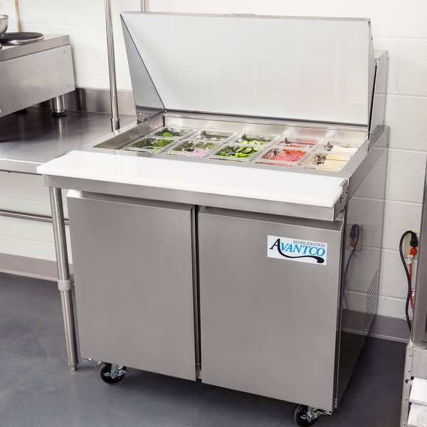 "Avantco SS-PT-36M-HC 36"" 2 Door Mega Top Stainless Steel Refrigerated Sandwich Prep Table"