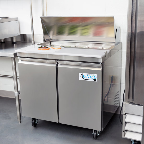 "Avantco SS-PT-36-HC 36"" 2 Door Stainless Steel Refrigerated Sandwich Prep Table"