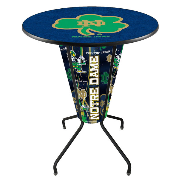"Holland Bar Stool L218B42NotreD36RND-Shm University of Notre Dame 36"" Round Bar Height LED Pub Table"