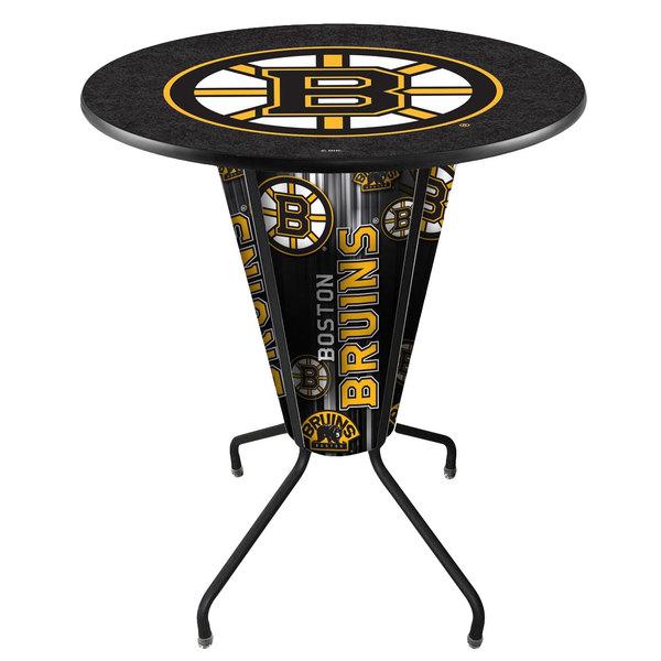 """Holland Bar Stool L218B42BosBru36RBosBru Boston Bruins 36"""" Round Bar Height LED Pub Table"""