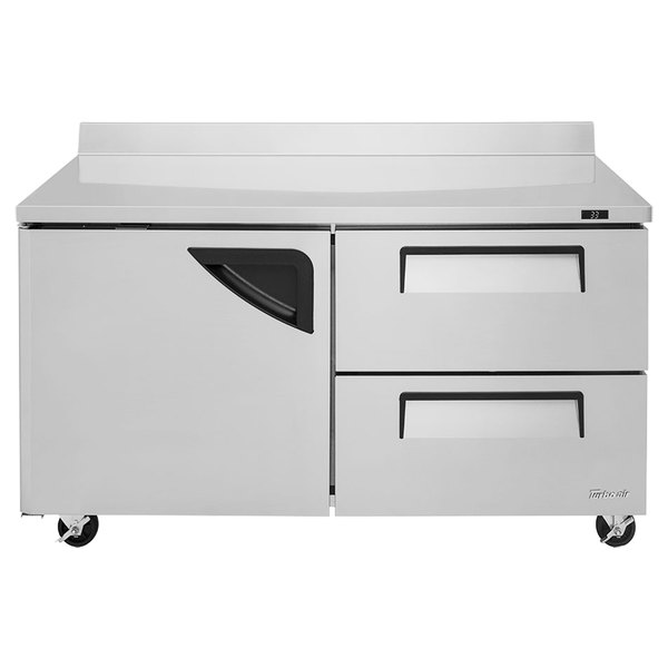 """Turbo Air TWR-60SD-D2 Super Deluxe 60"""" Worktop Refrigerator with One Door and Two Drawers"""