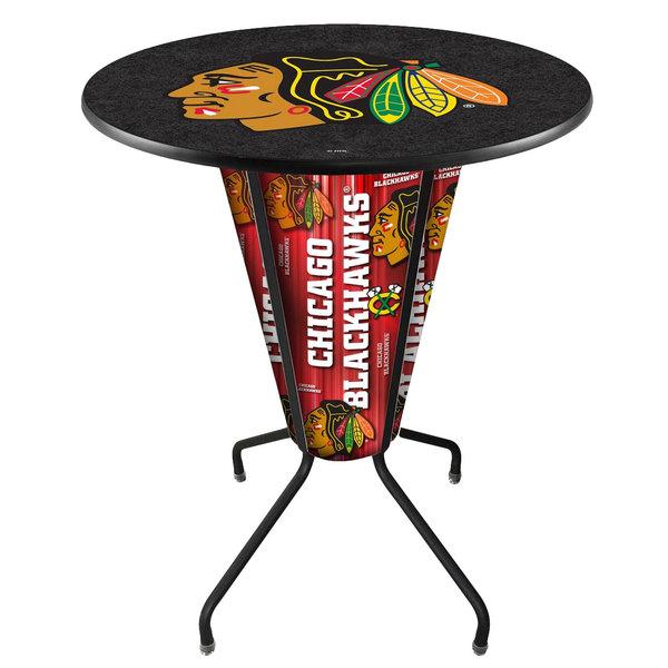"Holland Bar Stool L218B42ChiHwk36RChiHwk-B Chicago Blackhawks 36"" Round Bar Height LED Pub Table"