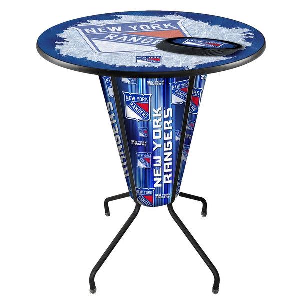 "Holland Bar Stool L218B42NYRang36RNYRang-D2 New York Rangers 36"" Round Bar Height LED Pub Table"