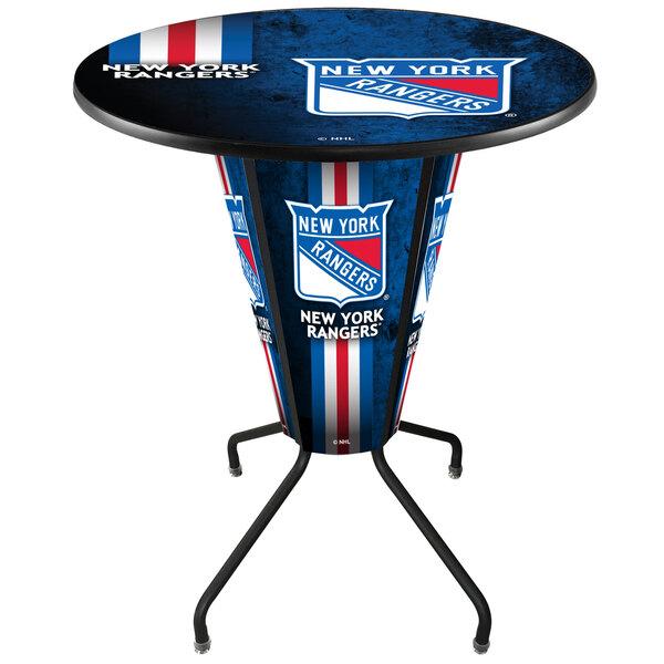 "Holland Bar Stool L218B42NYRang36RNYRang-D2 New York Rangers 36"" Round Bar Height LED Pub Table Main Image 1"