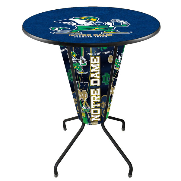 """Holland Bar Stool L218B42NotreD36RND-Lep University of Notre Dame 36"""" Round Bar Height LED Pub Table"""