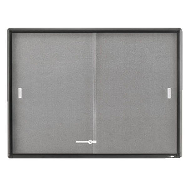 "Quartet 2364S 48"" x 36"" Gray Aluminum Frame and Glass Enclosed Fabric Cork Bulletin Board"