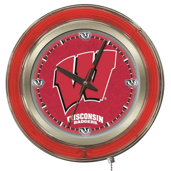 "Holland Bar Stool Clk15Wisc-W University of Wisconsin 15"" Neon Clock Main Image 1"