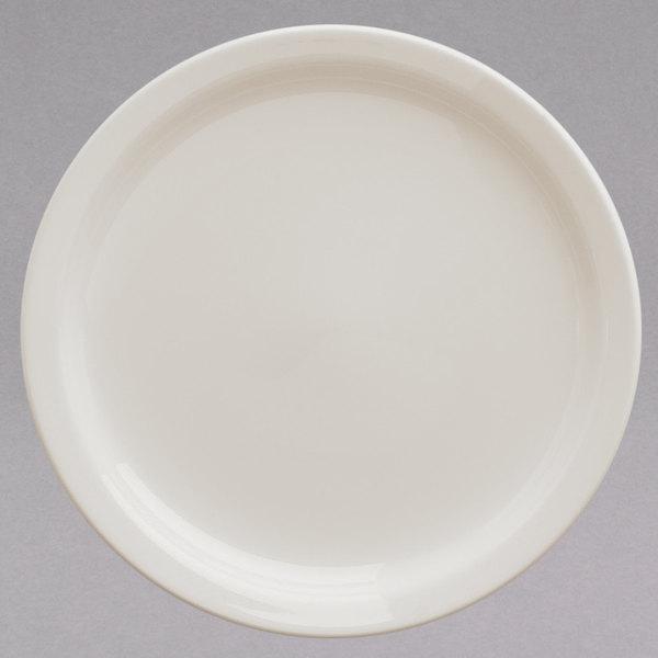 "Homer Laughlin HL22500 9 3/4"" Ivory (American White) Narrow Rim China Plate - 12/Case Main Image 1"