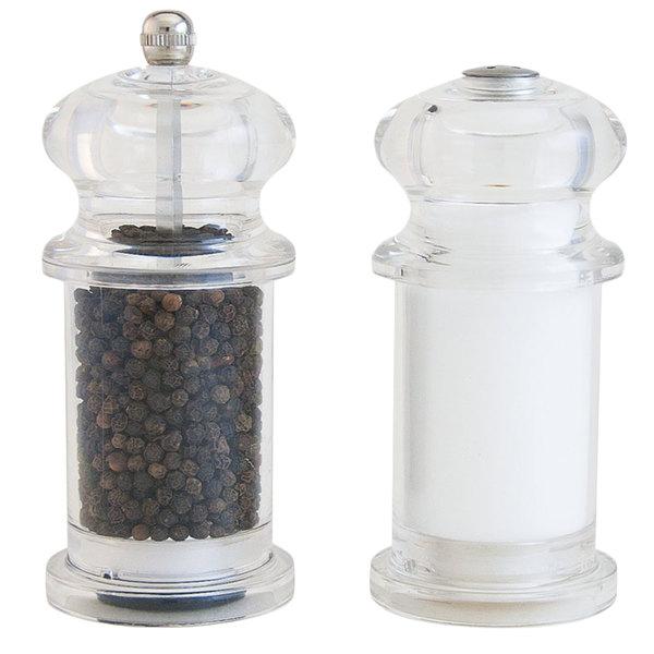 """Fletchers' Mill DEN05SET02-SS Denali 5"""" Clear Acrylic Salt Shaker and Pepper Mill Set"""