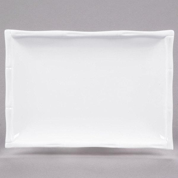"CAC BAP-13 Bamboo Pattern 11"" x 7 3/4"" Bright White Rectangular Porcelain Platter - 12/Case Main Image 1"