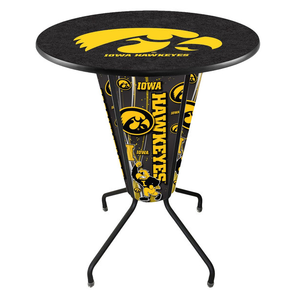 "Holland Bar Stool L218B42IowaUn36RIowaUn University of Iowa 36"" Round Bar Height LED Pub Table"