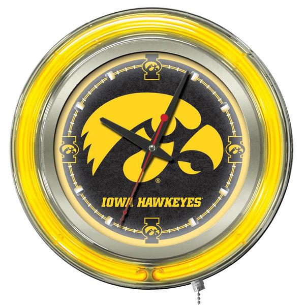 "Holland Bar Stool Clk15IowaUn University of Iowa 15"" Neon Clock"