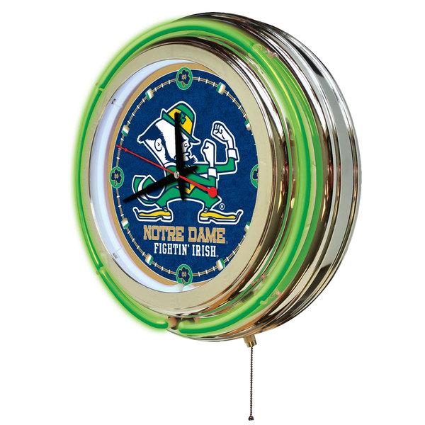 "Notre Dame Fighting Irish /""Leprechaun/""  15/"" Double Ring Neon Wall Clock"