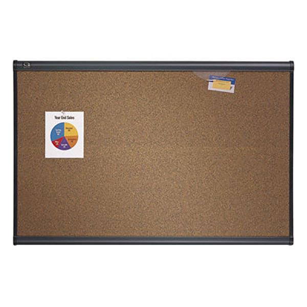 "Quartet B247G Prestige 72"" x 48"" Brown Cork and Fiberboard Bulletin Board with Graphite Finish Frame"