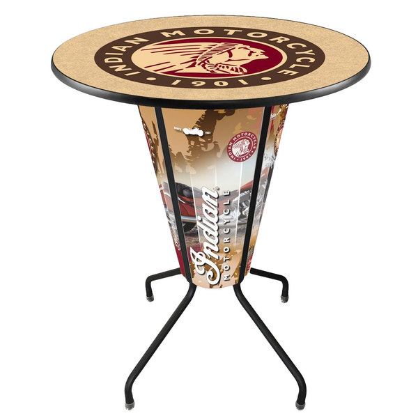 """Holland Bar Stool L218B42IndianWrap-36RIndn-HD Indian Motorcycle 36"""" Round Bar Height LED Pub Table"""