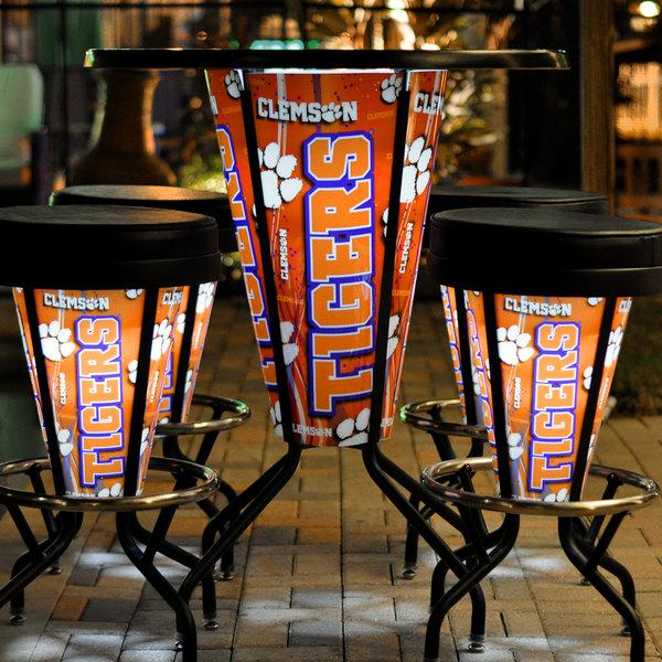 "Holland Bar Stool L218B42Clmson36RClmson-D2 Clemson University 36"" Round Bar Height LED Pub Table"