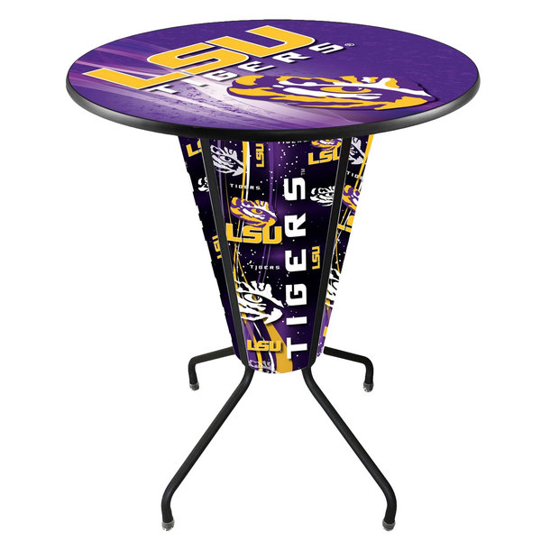 "Holland Bar Stool L218B42LaStUn36RLaStUn-D2 Louisiana State University 36"" Round Bar Height LED Pub Table"