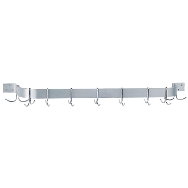 """Advance Tabco SW1-60-EC 60"""" Stainless Steel Wall Mounted Single Line Pot Rack with 9 Double Prong Hooks"""