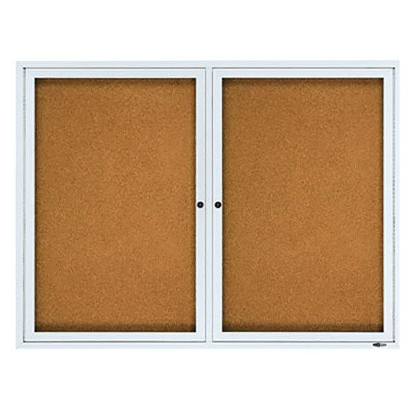 "Quartet 2124 48"" x 36"" Silver Aluminum Enclosed Cork and Fiberboard Bulletin Board"