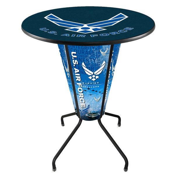 """Holland Bar Stool L218B42AirFor36RAirFor United States Air Force 36"""" Round Bar Height LED Pub Table"""