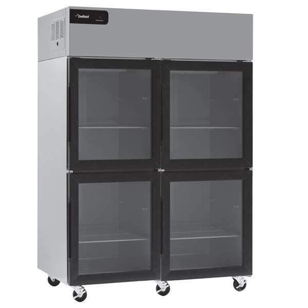 """Delfield GBR2P-GH Coolscapes 55 1/4"""" Glass Half Door Reach-In Refrigerator - 46 Cu. Ft."""