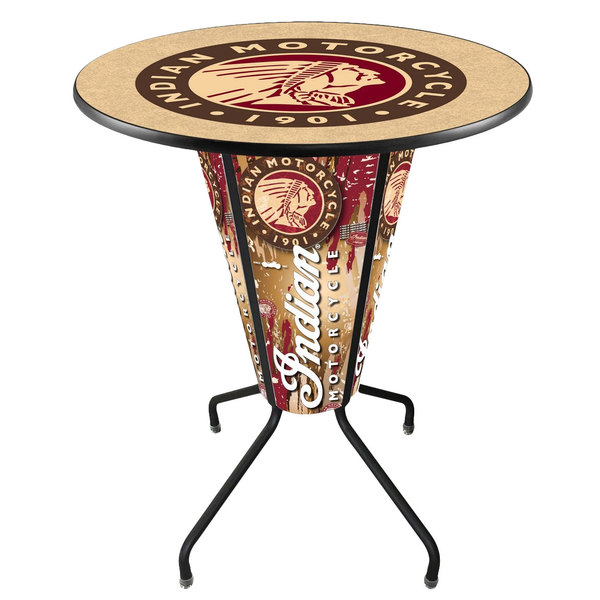"""Holland Bar Stool L218B42Indian1P-36RIndn-HD Indian Motorcycle 36"""" Round Bar Height LED Pub Table"""