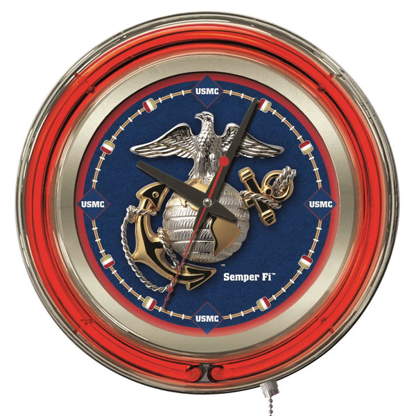 "Holland Bar Stool Clk15Marine United States Marine Corps 15"" Neon Clock Main Image 1"