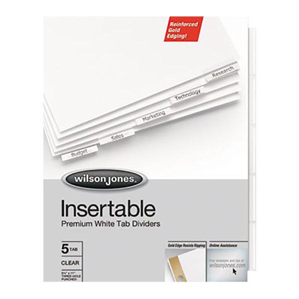 Wilson Jones 54146 Gold Pro 5-Tab White Insertable Tab Divider - 5/Set