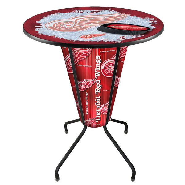 """Holland Bar Stool L218B42DetRed36RDetRed-D2 Detroit Red Wings 36"""" Round Bar Height LED Pub Table"""