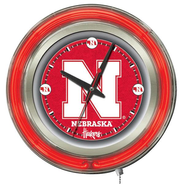 "Holland Bar Stool Clk15NebrUn University of Nebraska 15"" Neon Clock"