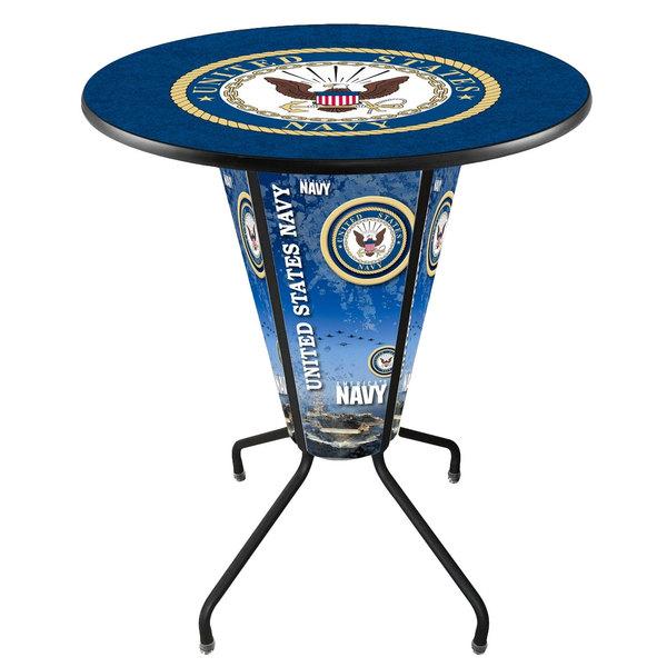 "Holland Bar Stool L218B42Navy36RNavy United States Navy 36"" Round Bar Height LED Pub Table"