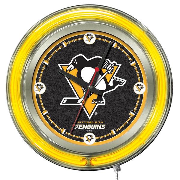 "Holland Bar Stool Clk15PitPen Pittsburgh Penguins 15"" Neon Clock"