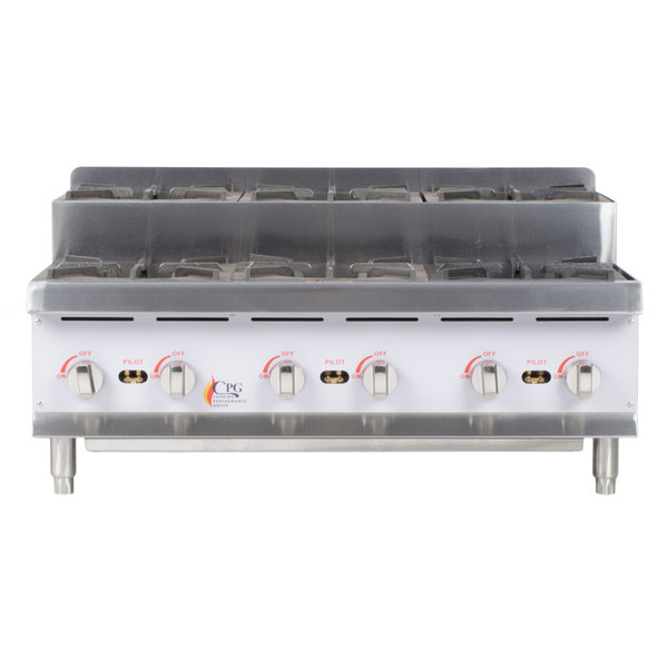 Cooking Performance Group CK-HPSU636 36 inch Step-Up Countertop Range with 6 High Output Burners - 180,000 BTU