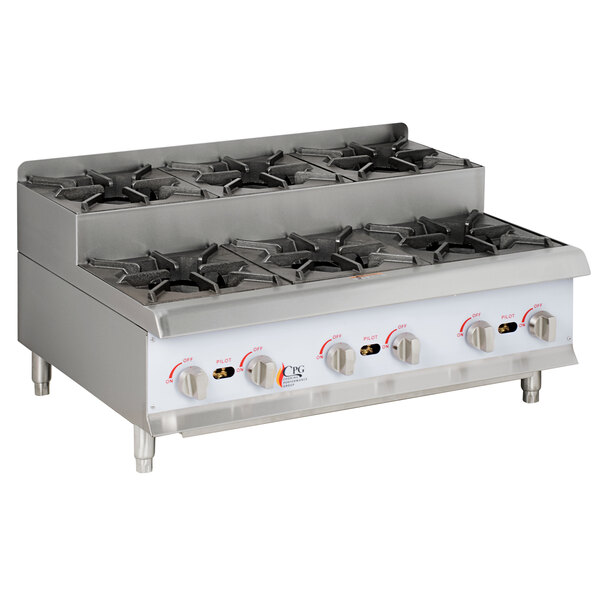 Cooking Performance Group CK-HPSU636 36 inch Step-Up Countertop Range / Hot Plate with 6 High Output Burners - 180,000 BTU
