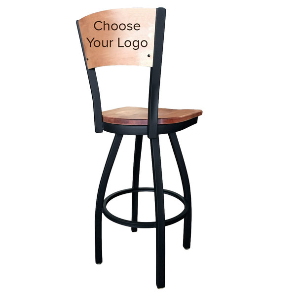 Holland Bar Stool Black Steel Logo Laser Engraved Bar Height Swivel Chair with Maple Back and Seat