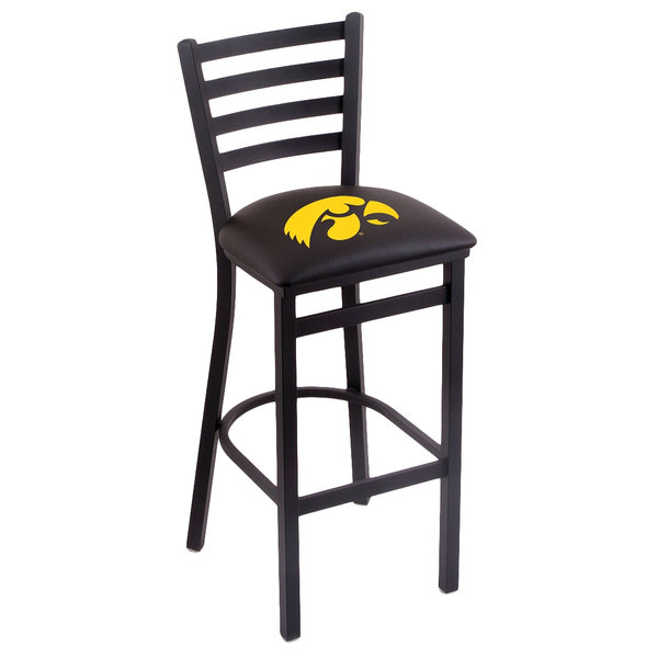 Holland Bar Stool L00430IowaUn Black Steel University of Iowa Bar Height Chair with Ladder Back and Padded Seat