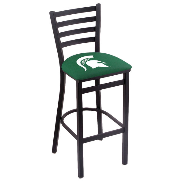 Holland Bar Stool L00430MichSt Black Steel Michigan State University Bar Height Chair with Ladder Back and Padded Seat