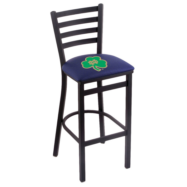 Holland Bar Stool L00430ND-Shm Black Steel University of Notre Dame Bar Height Chair with Ladder Back and Padded Seat