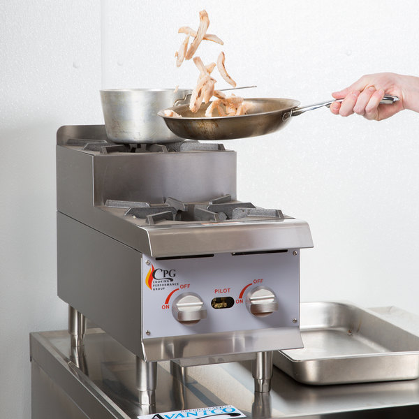 """Cooking Performance Group CK-HPSU212 12"""" Step-Up Countertop Range / Hot Plate with 2 High Output Burners - 60,000 BTU"""