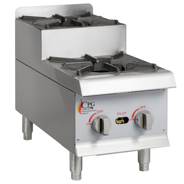 Cooking Performance Group CK-HPSU212 12 inch Step-Up Countertop Range / Hot Plate with 2 High Output Burners - 60,000 BTU