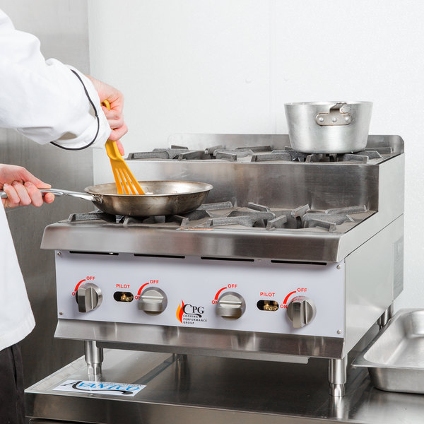 """Cooking Performance Group CK-HPSU424 24"""" Step-Up Countertop Range / Hot Plate with 4 High Output Burners - 120,000 BTU"""