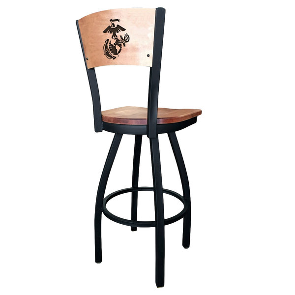 Holland Bar Stool L03830BWMedMplAMarineMedMpl Black Steel United States Marine Corps Laser Engraved Bar Height Swivel Chair with Maple Back and Seat Main Image 1