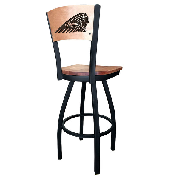 Holland Bar Stool L03830BWMedMplAIndn-HDMedMpl Black Steel Indian Motorcycle Laser Engraved Bar Height Swivel Chair with Maple Back and Seat