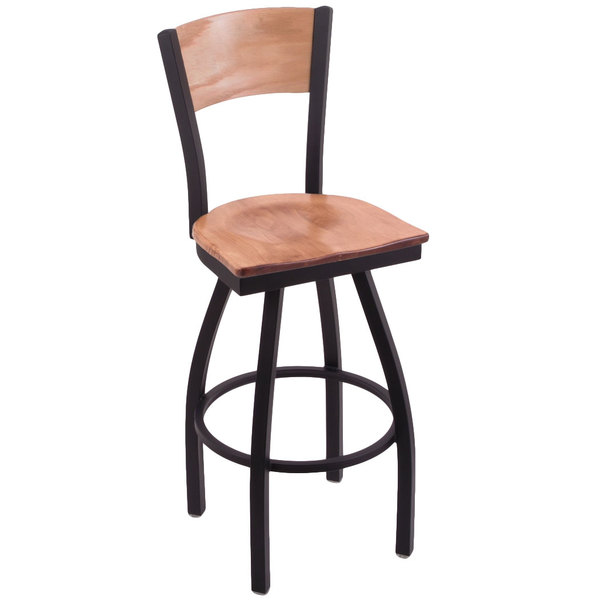 Holland Bar Stool Black Steel NHL Logo Laser Engraved Bar Height Swivel Chair with Maple Back and Seat