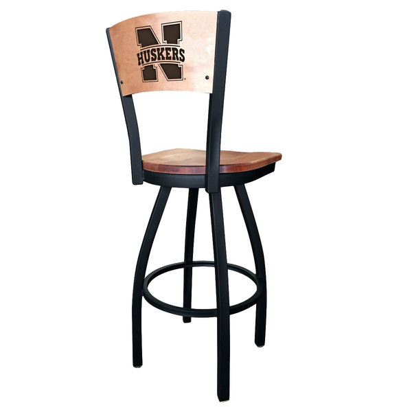 Holland Bar Stool L03830BWMedMplANebrUnMedMpl Black Steel University of Nebraska Laser Engraved Bar Height Swivel Chair with Maple Back and Seat