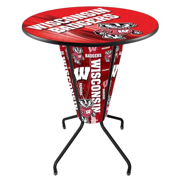 "Holland Bar Stool L218B42Wiscon36RWI-Bdg-D2 University of Wisconsin 36"" Round Bar Height LED Pub Table"