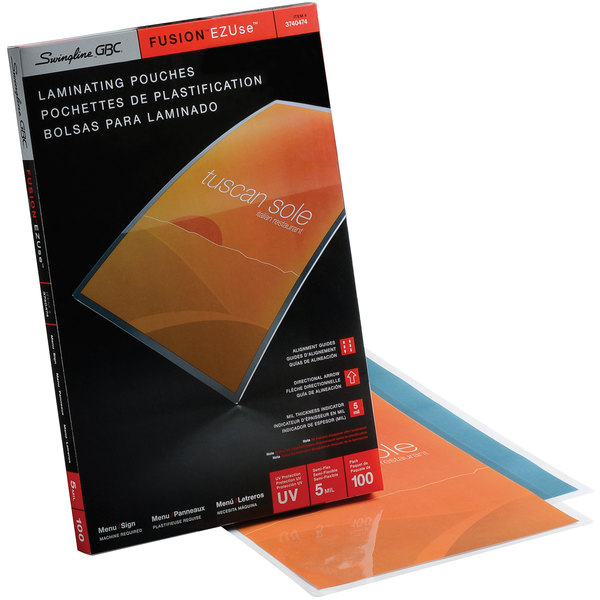 "Swingline GBC 3740474 EZUse 17 1/2"" x 11 1/2"" Ledger Thermal Laminating Pouch - 100/Box Main Image 1"