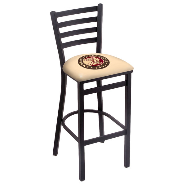 Holland Bar Stool L00430Indn-HD Black Steel Indian Motorcycle Bar Height Chair with Ladder Back and Padded Seat