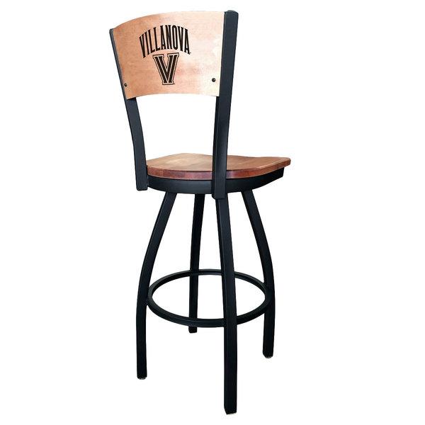 Holland Bar Stool L03830BWMedMplAVilnvaMedMpl Black Steel Villanova University Laser Engraved Bar Height Swivel Chair with Maple Back and Seat